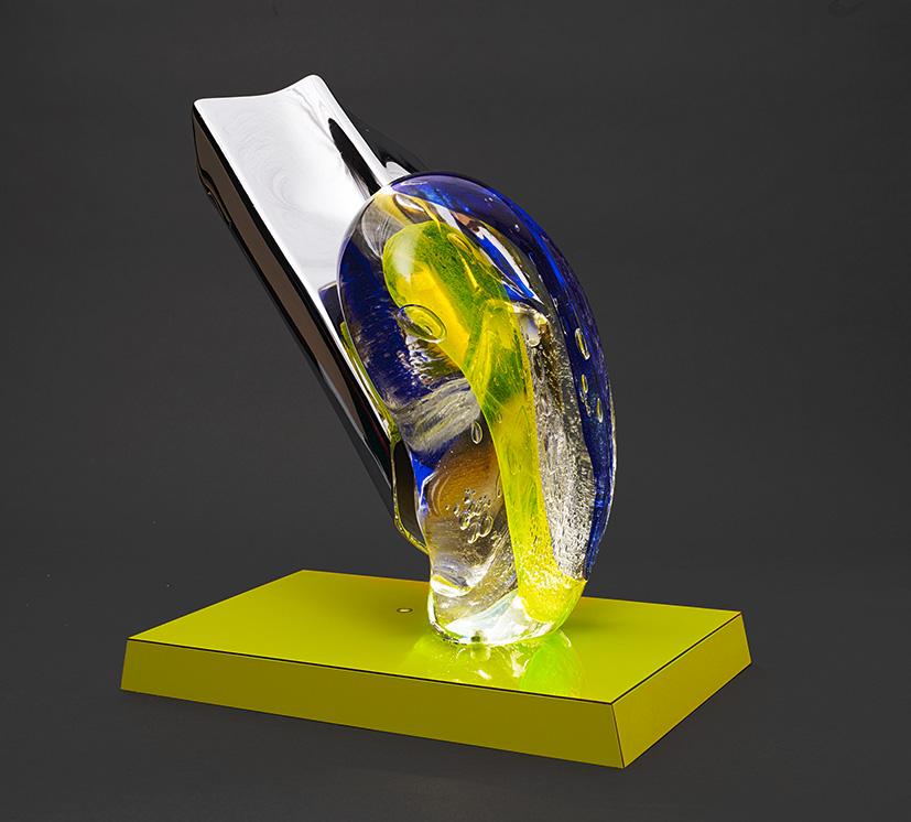 Philippe Bresson 2015, métal chromé, stratifié, coulée de verre, led