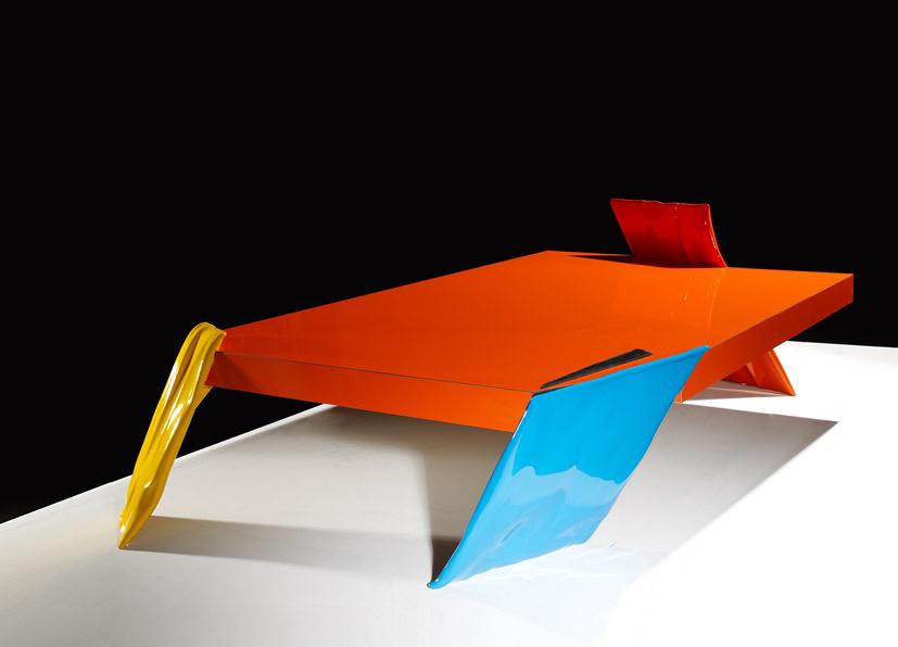 Philippe Bresson 2012, La table orange, dim. L : 1,63 l : 0,97 h : 0,30 m