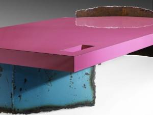 Philippe Bresson 2012, table basse L'Atoll bleu, dim. L : 1,50 l : 0,80 h : 0,27 m