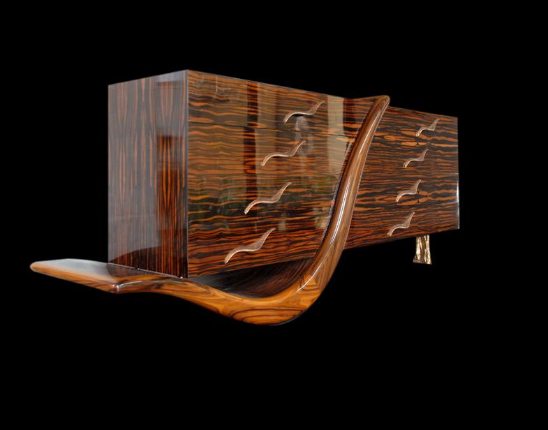 Philippe Bresson 2003, meuble L'Envole d'oiseau, dim. 2,00 mx 0,50 mx 0,85 m