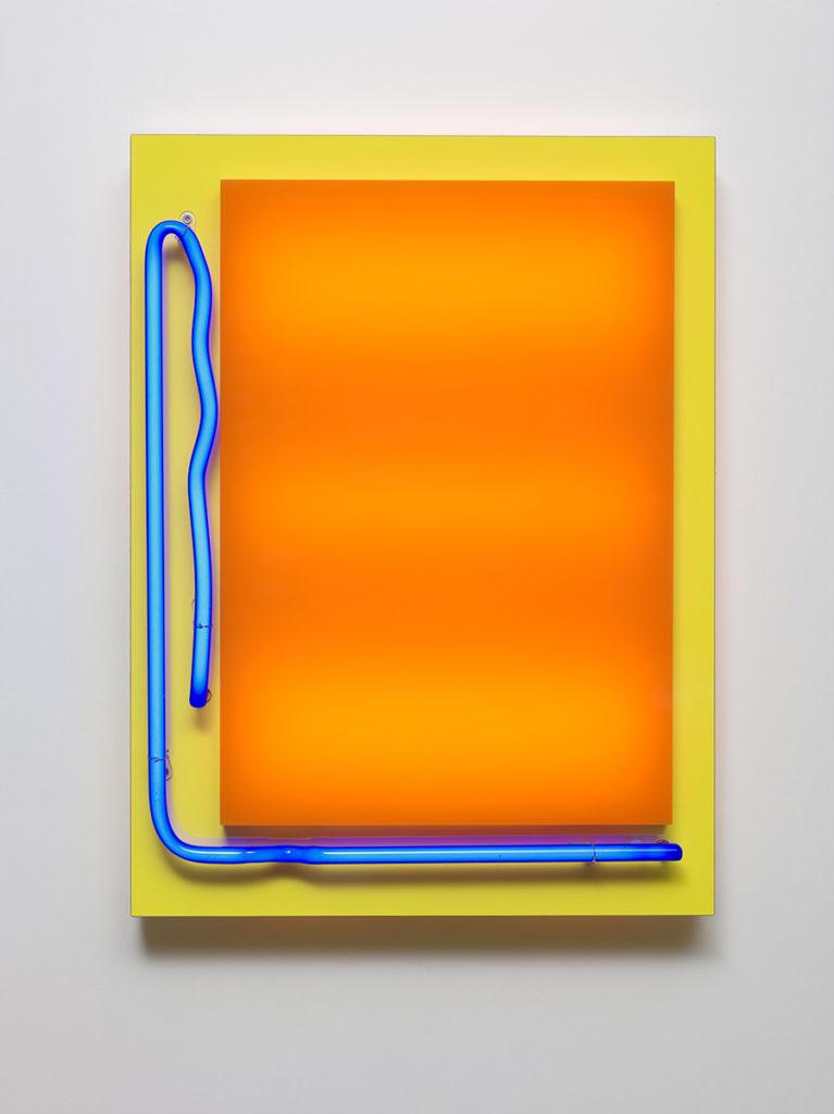 Abstrait lumineux IV, 2015 - Plexiglas, bois stratifié, LED, tube néon 60 x 45 x 10 cm