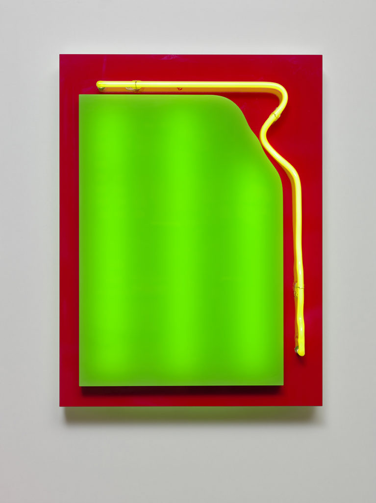 Abstrait lumineux V, 2015 - Plexiglas, bois stratifié, LED, tube néon 60 x 45 x 10 cm