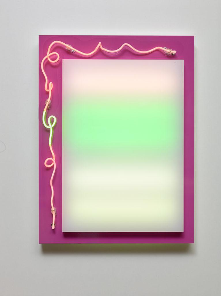 Abstrait lumineux VII, 2015 - Plexiglas, bois stratifié, LED, tube néon 60 x 45 x 10 cm