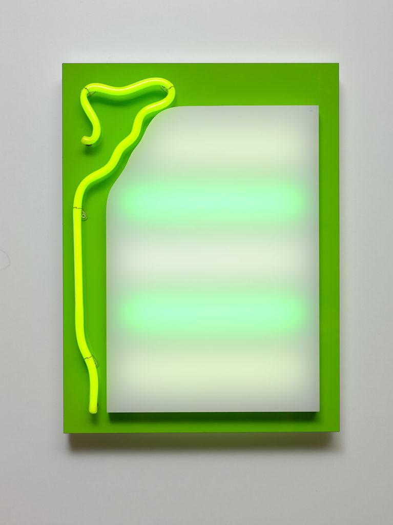 Abstrait lumineux IX, 2015 - Plexiglas, bois stratifié, LED, tube néon 60 x 45 x 10 cm